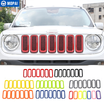 MOPAI ABS Car Exterior Insert Trim Front Grille Cover Decoration Stickers For Jeep Renegade 2015-2016 Car Styling mopai lamp hoods for jeep renegade 2019 car front fog light lamp decoration cover for jeep renegade 2019 accessories