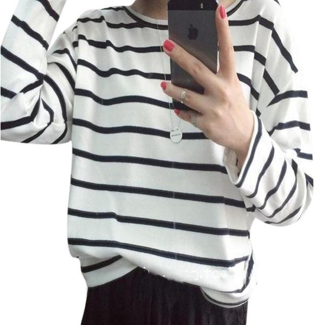 Для женщин с длинными рукавами Пуловеры для женщин Толстовки Толстовка Весна Повседневное Для женщин Полосатые рубашки Топ женский Свободные негабаритных Толстовки блузка