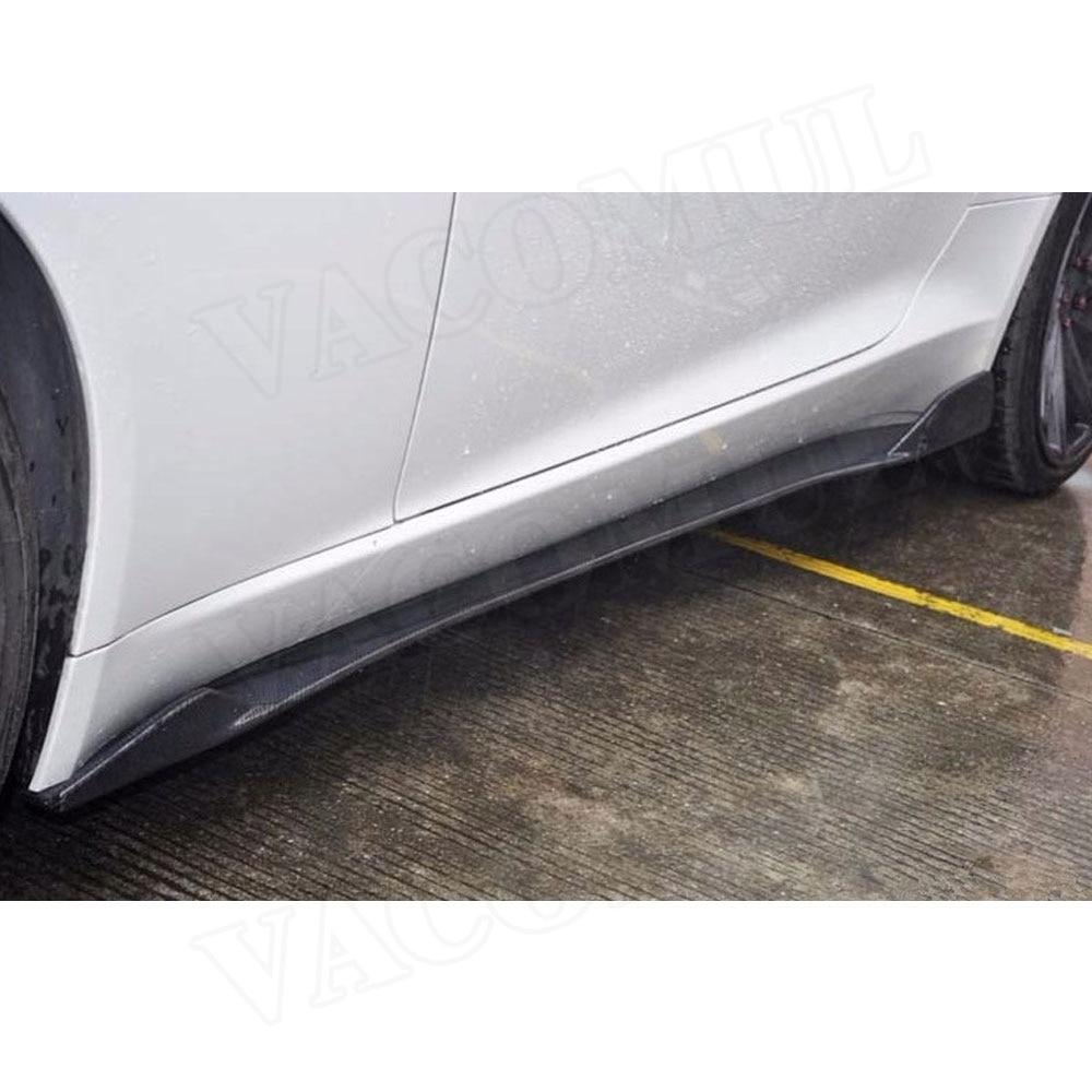 Jupes Latérales en Fiber De carbone pour Jaguar F type Coupé 2 Portes 2015 2016 2017 2018 2019 2 pièces/ensemble Voiture style Extension de L'aire de Lèvre - 4