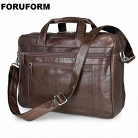 NEW Genuine Leather Coffee Men Briefcase 17inch Laptop Business Bag Cowhide Men S Messenger Bags Luxury