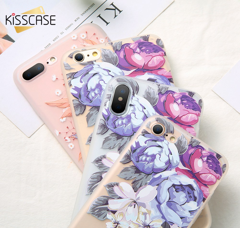 KISSCASE-Case-For-iPhone-X-8-8-Plus-3D-Relief-Soft-Silicone-Blossoming-Flowers-Case-For(4)