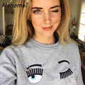 Kawaii clothes hoodie Embroidery Eyes Eyebrow Ring Sweatshirt Women 2017 harajuku Loose O-neck Pullover Cute Cropped Hoodies C12