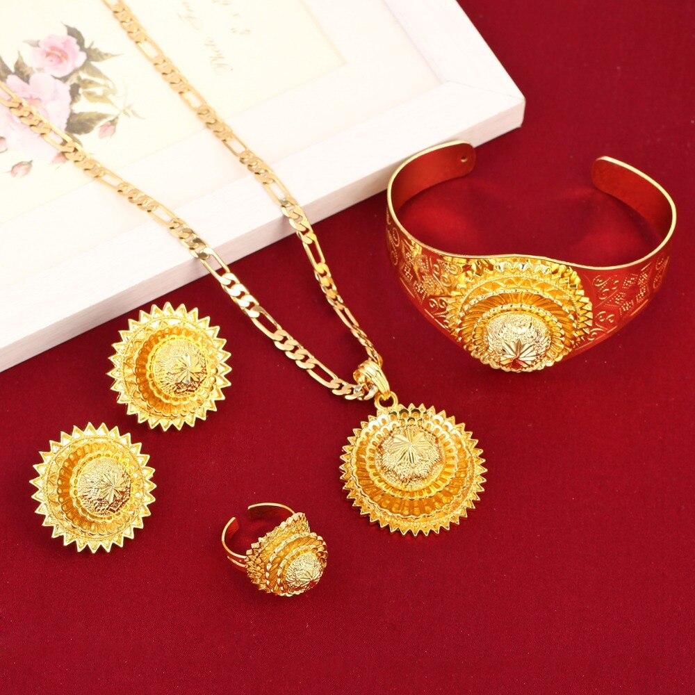 Online Shop Latest Ethiopian Cross Set Jewelry 24k Gold Color