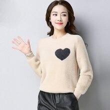 Harajuku Sweet Heart O-neck Sweater Long Sleeve Love velvet thick Knitting Women 2019 Pullovers