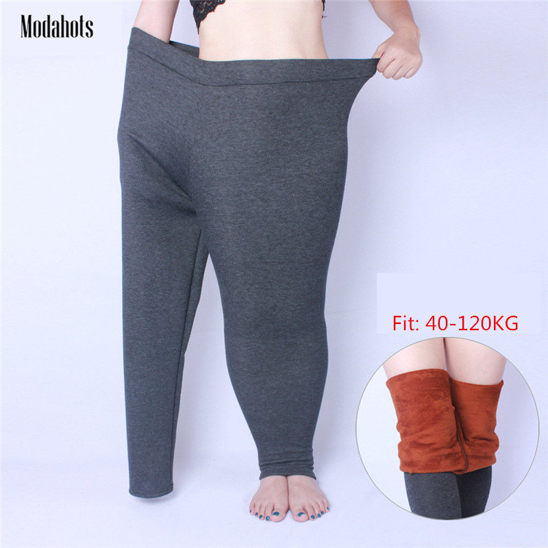 Autumn Winter Women Leggings Plus Size Thick Velvet 6XL Big Sizes Large Slim Legging Pants Leggins Black Warm Fat MM All-match