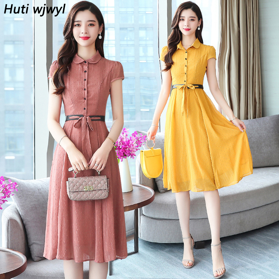 2019 Femal Vintage Elegant Solid Chiffon Boho Midi Dresses Summer New 3XL Plus Size Beach Sundress Women Bodycon Party Vestidos
