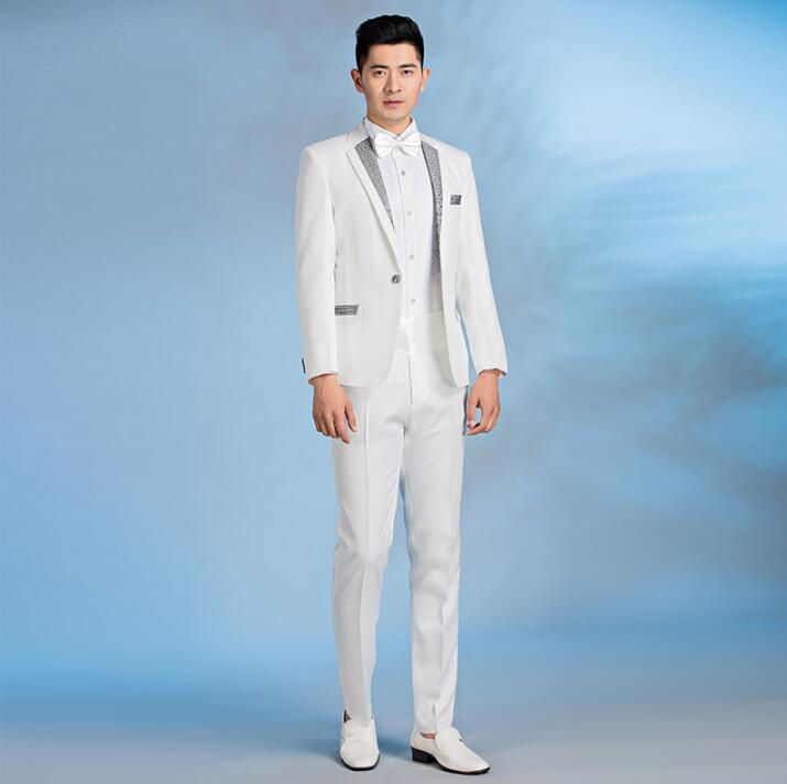 Sequins blazer men formal dress latest coat pant designs suit men terno masculino trouser marriage wedding suits for mens white