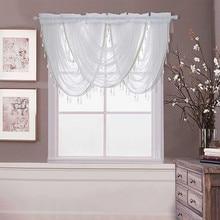 ISHOWTIENDA окна балдахин Кружево Подол спальня гостиная шторы роскошный белый алмаз отвесная вышитый водопад#35