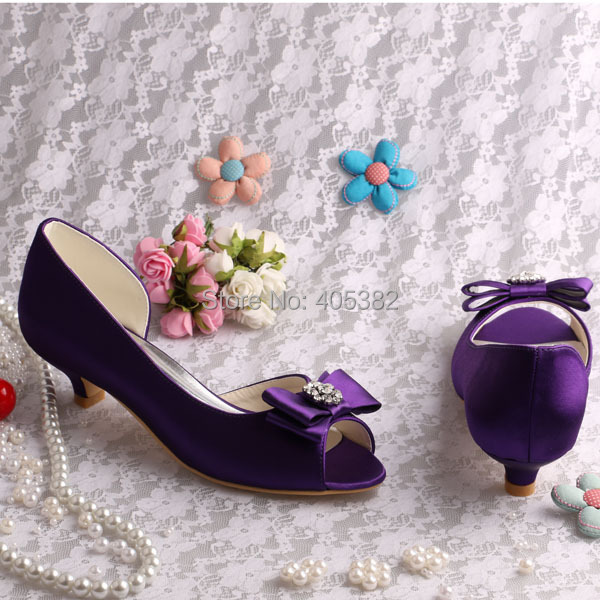 (20 Colors)Women Shoes Purple Low Heel Pumps Bride Party Open Toe Dropshipping