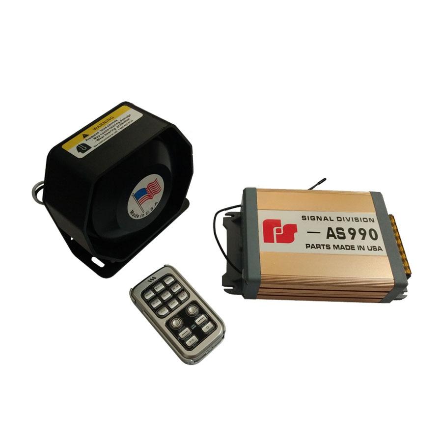 ФОТО 12V 200W 18 Tones Signal Division AS990 Gold Car Police Siren Electrinic Amplifier Siren Black Ultra Slim Metal Loudspeaker