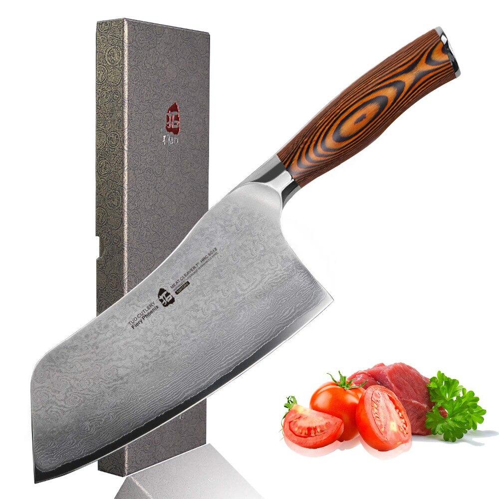TUO Couverts Couteau Couperet-Japonais AUS-10 67-Couches Damas Couteau de Chef En Acier-Chinois-Ergonomique Pakkawood poignée-7''