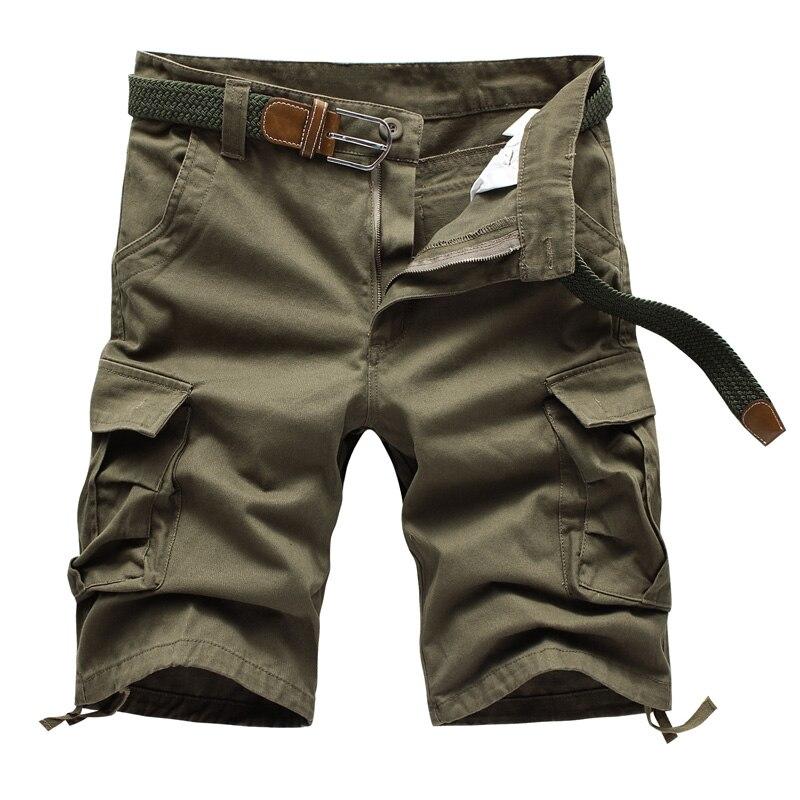 86 NEW Summer Mens Baggy Multi Pocket Military Zipper Cargo Shorts breeches Male Long Army Green Khaki Mens Tactical Short