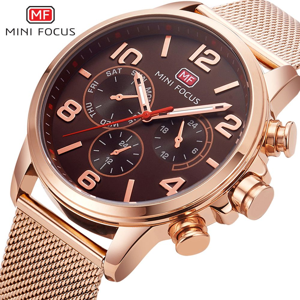 MINI FOCUS New 2018 Gold Quartz Wrist Watch Top Brand Men Watches Decorative Dial Business Male Clock Montre Relogio Masculino fashion male watches men top famous brand gold wrist watch leather band quartz casual big dial clock relogio masculino hodinky36
