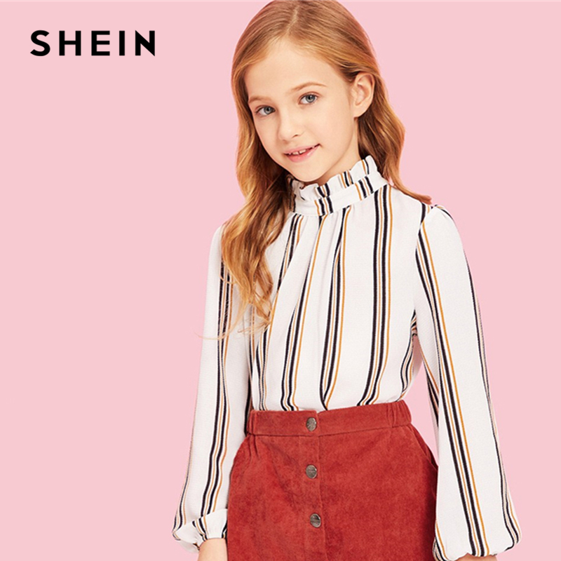 SHEIN Kiddie Stand Collar Striped Ruffle Elegant Girls Blouses Kids Clothing 2019 Spring Long Sleeve Cute Tee Shirt For Teenager ol style polo collar candy color long sleeve blouse for women