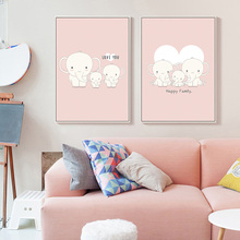 Pink Happy Family Elephant Canvas Painting Wall Art Cartoon Poster Nursery Prints Nordic Kids Pictures Baby Bedroom Decoration