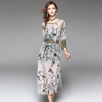 YUS High Quality Women Fashion 2017 New Blouse Brief Style Bamboo And Birds Pattern Dress Elegant