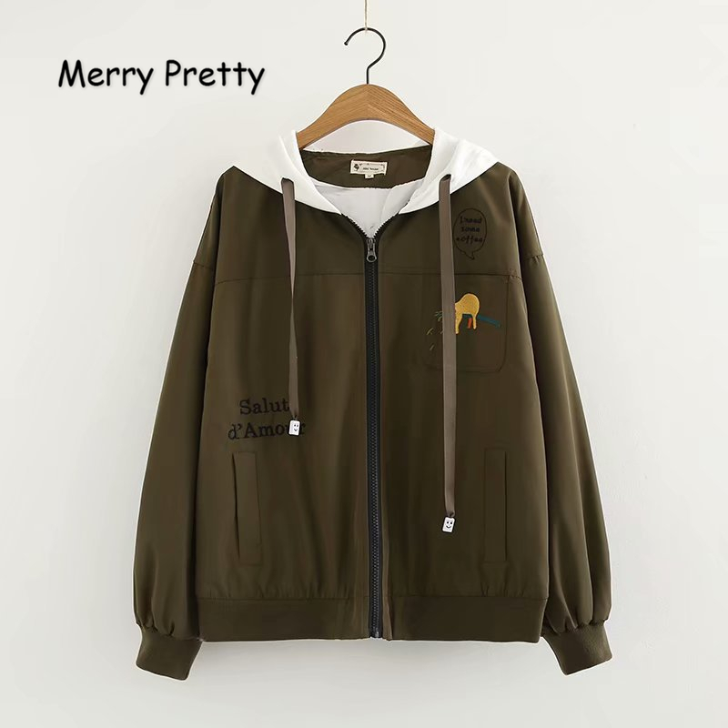 MERRY PRETTY Women Embroidery   Basic     Jackets   Coat 2018 Autumn Zippers Hooded Outerwear Femme Army Green Baseball   Jackets   Sukajan