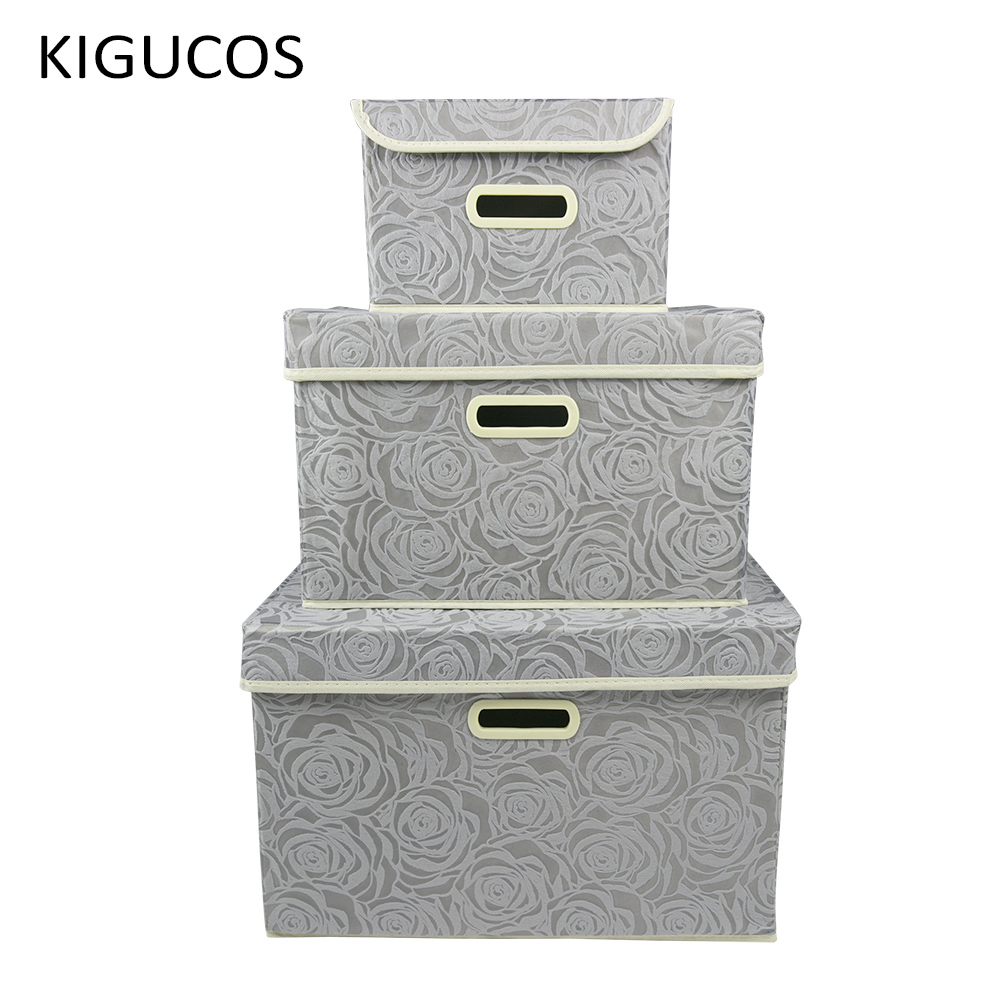 US $12.39 |KIGUCOS Foldable Storage Box Linen Fabric Storage Container Bins  Drawer with Lid Bedroom Clothes Bathroom Organizer Box-in Storage Boxes &  ...