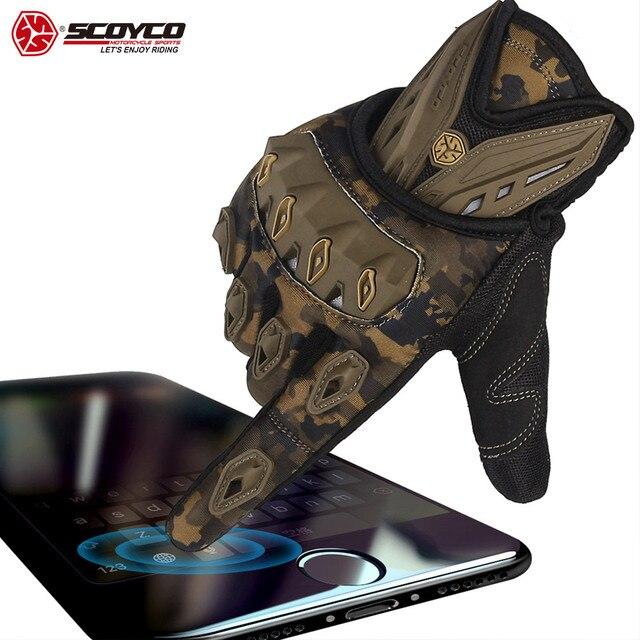 SCOYCO מגע מסך אופנוע כפפות מגן לנשימה אופניים כפפות כפפות עבור lMBX/MTB/טרקטורונים