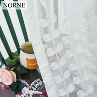 NORNE Embroidered Semi White Voiles Leaves Tulle Sheer Curtain for Living Room Decoration Window Curtains Treatment for Bedroom