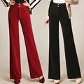 2017 Otoño Invierno de Las Señoras Elegantes Pantalones de Las Mujeres pantalones Anchos de La Pierna Pantalones Casuales de Cintura Alta Pantalones Largos pantalones del Desgaste del Trabajo de Oficina E7