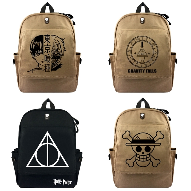 ... Bags For Girls  brand new 77026 1ef59 Gravity Falls Tokyo Ghoul One  Piece Harry Potter Men Women Canvas Backpack ... 853fc3768a