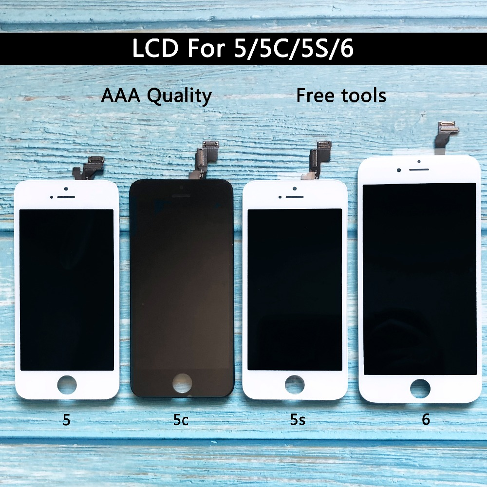 Digitizer Display For Iphone 5 5s 6 LCD Touch Screen Assembly Replacement AAA Quality White Black Free Shipping For Iphone 6 Lcd