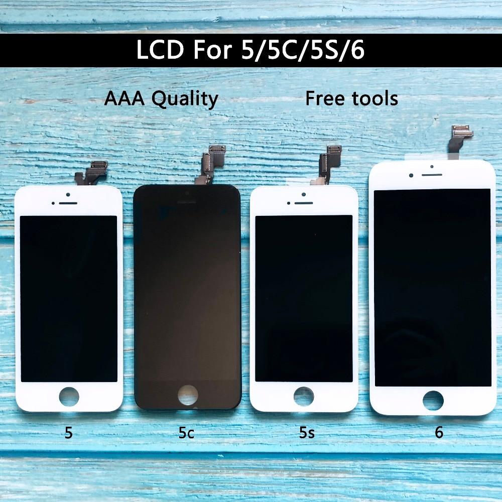 Digitizer Display Für iphone 5 5 s 6 LCD Touch Screen Ersatz AAA Qualität Weiß Schwarz freies verschiffen für iphone 6 lcd