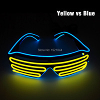 Los Colores del doble EL Cable de LED de Neón Que Brillan Intensamente 50 unids Shutter Shaped Glasses Alimentado por $ NUMBER Baterías AA Para El Partido Decoración de La Boda
