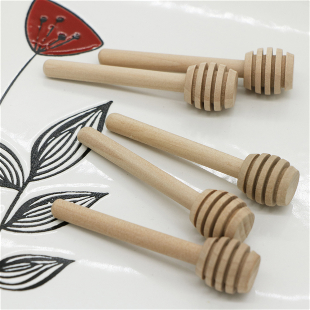 1000 pcs 8cm Mini Wooden Honey Dippers Wedding Favors Wood Honey Spoon Stick Party Supply Mixing