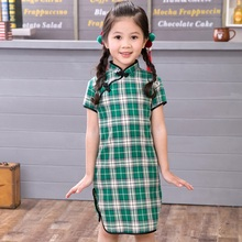 2019 Summer Cotton Baby Girls Dress Plaid Chinese Traditional Children Cheongsam Chi-pao Girl Clothes Qipao Dresses