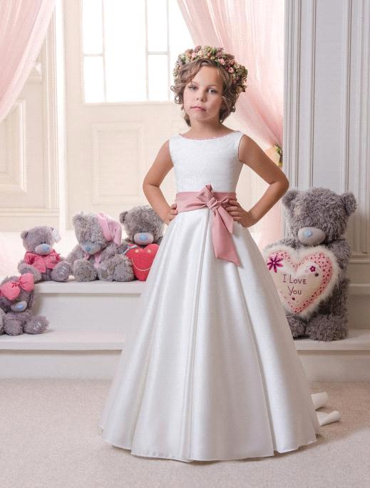 New Style 2018 Simple Cheap A line Bowknot White Ivory First Communion   Dresses   For   Girls     Flower     Girl     Dress