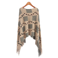 Autumn Women V Neck Batwing Plaid Fringed Stitching Irregular Tops Poncho Shawl Cape Hollow Sweater Blusas