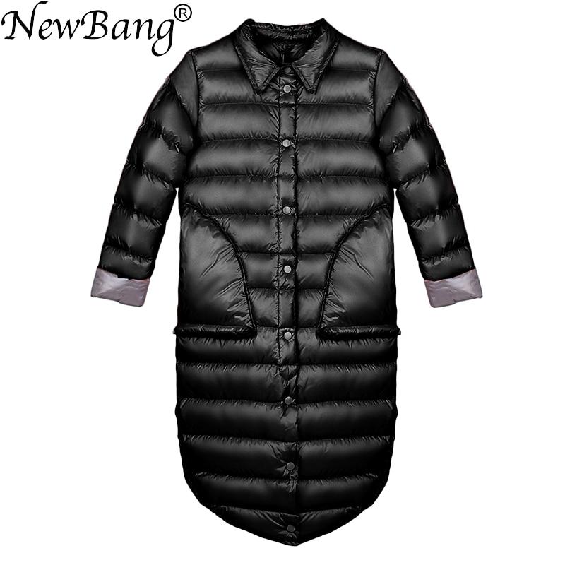 NewBang Brand Down Coat Female Long Winter Down Jacket Women Single Breasted Puffer Jacket Warm White Duck Feather Coats