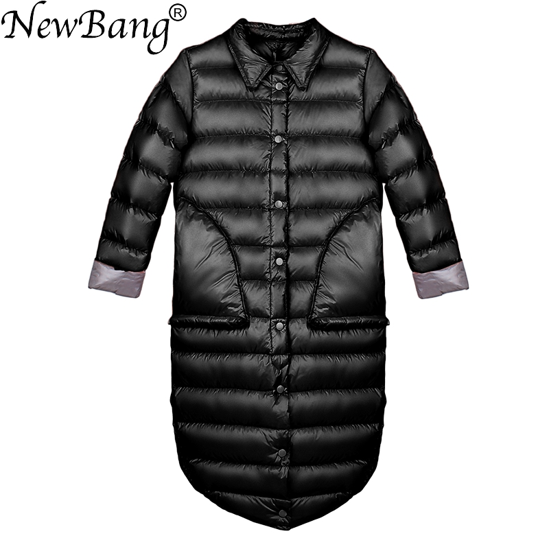 NewBang Brand Down Coat Female Long Winter Down Jacket Women Single Breasted Puffer Jacket Warm White Duck Feather Coats