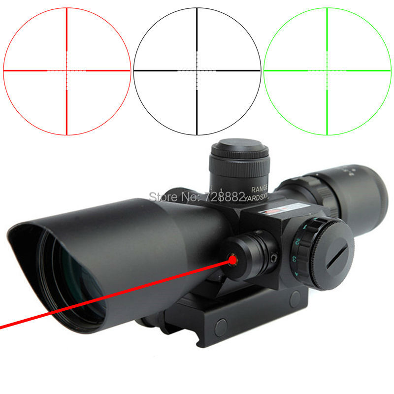 ФОТО Tactical Riflescopes 2.5 10x40 Red Green Mil Dot Reticle Sight Scope Dual Illuminated with Laser 20mm Mount Combo