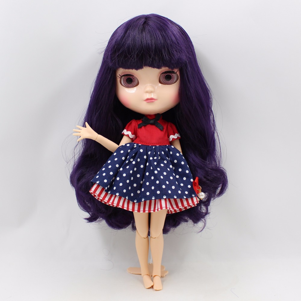 Neo Blythe Doll with Purple Hair, White Skin, Shiny Face & Jointed Azone Body 1