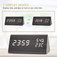 Newly Digital Alarm Clock Wooden LED Display Desk Dual Power Supply Temperature Humidity Detect