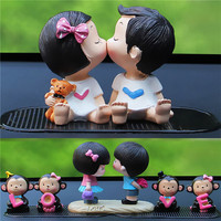 Kawaii Lover Couple Resin Crafts Car Ornaments Wedding Doll Figurines Miniatures Fairy Garden Home Decoration Accessories