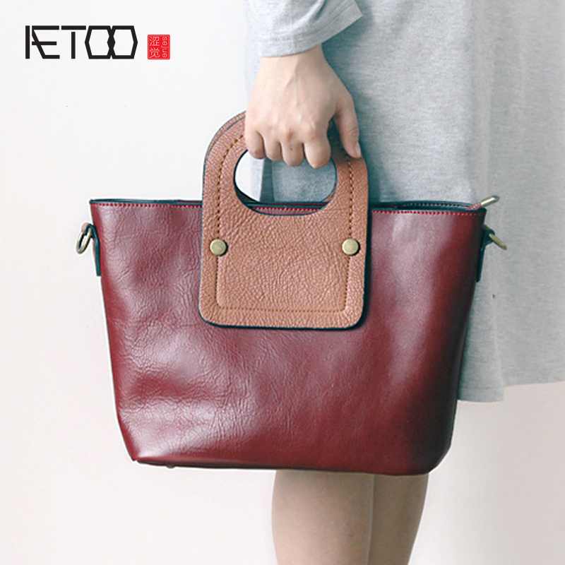 AETOO New leather handbag shoulder bag female first layer of leather dumplings package Korean simple personality fight color han 2016 new fashion personality wire hand bag handbag shoulder bag xiekua package pu pink brown black female bag fabric