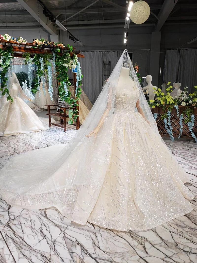 HTL388 boda special strapless wedding dress with wedding veil sleeveless sexy princess bridal dresses shiny robe de mariage 2019 (2)