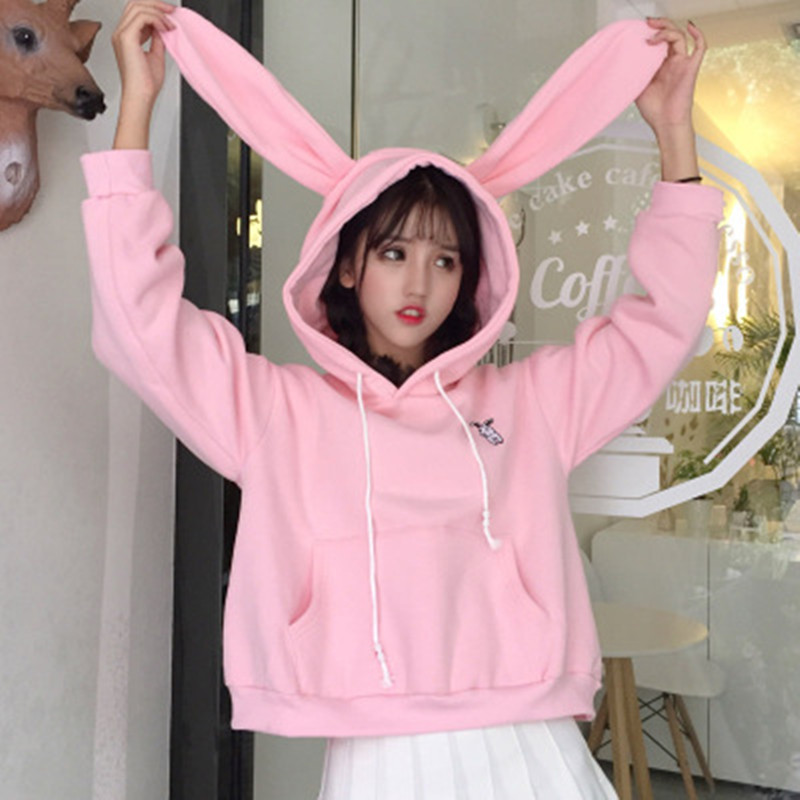 Women Bunny Hoody Long Sleeve Hoodie Lovely Female Rabbit Sweatshirts Loose Size Lovely Cotton Treetwear 2019 Top Spring Clothes