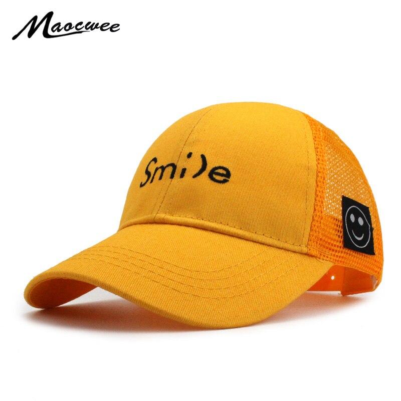 Бейсбол Кепки детский улыбка письмо вышивка шляпа Бейсбол для детей шапка для мальчиков и девочек Snapback Лето Бейсбол Кепки s милый парень