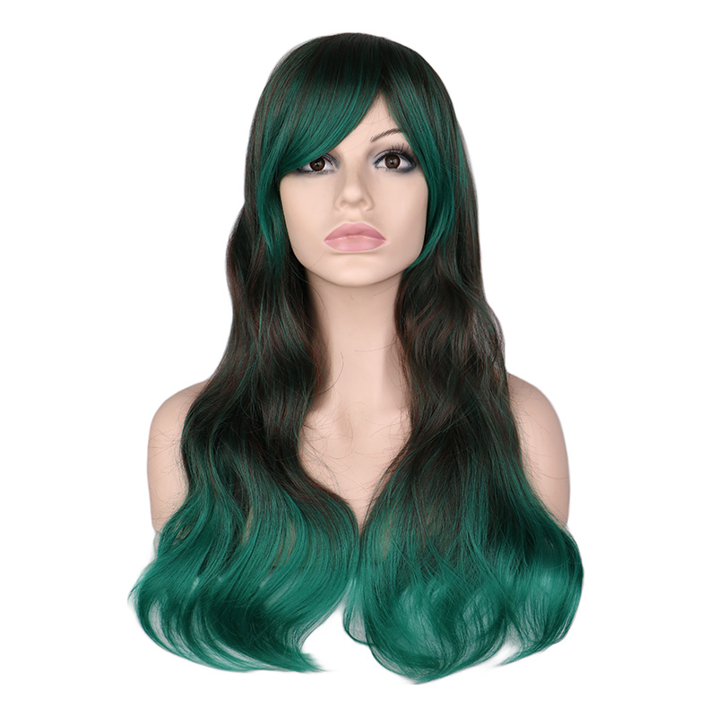 QQXCAIW Women Long Wavy Cosplay Mixed Black To Green Ombre 68 Cm Synthetic Hair Wigs