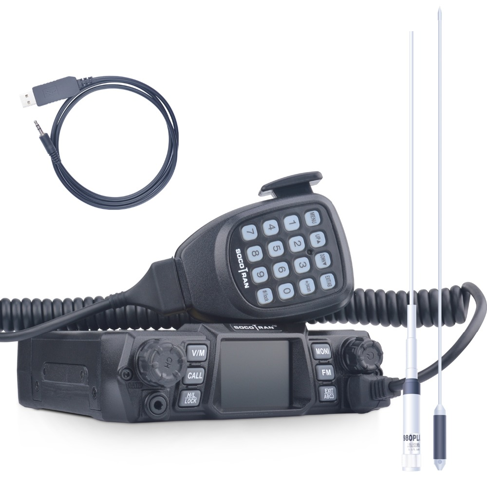 SOCOTRAN 200CH Dual Band 75W/55W Car Radio VHF 136 174MHz UHF 400 480MHz 2 Way Mobile radio with Programming Cable and Antenna-in Walkie Talkie from Cellphones & Telecommunications    1