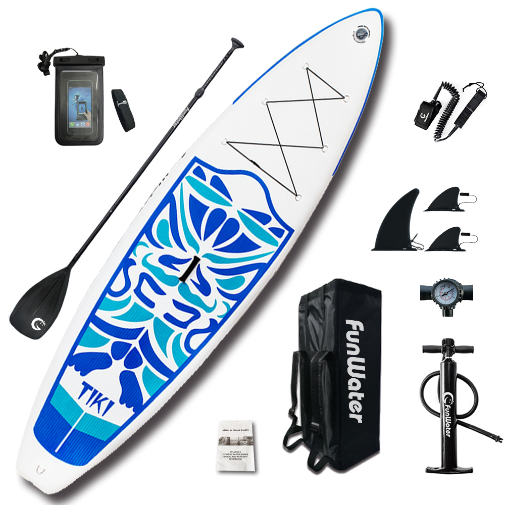 FunWater 320*84*15 cm Gonflable Paddle Board Sup W/Paddle, Sac, Laisse, pompe, sac de téléphone