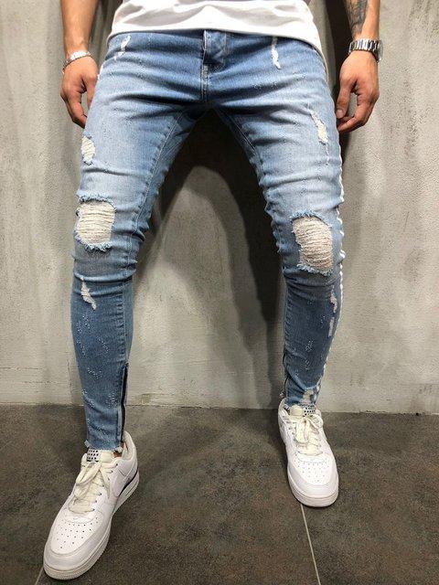 New Men Slim fit Knee Holes hip hop skinny jeans fashion Side white stripe Distressed Ripped Stretch Streetwear Denim trousers