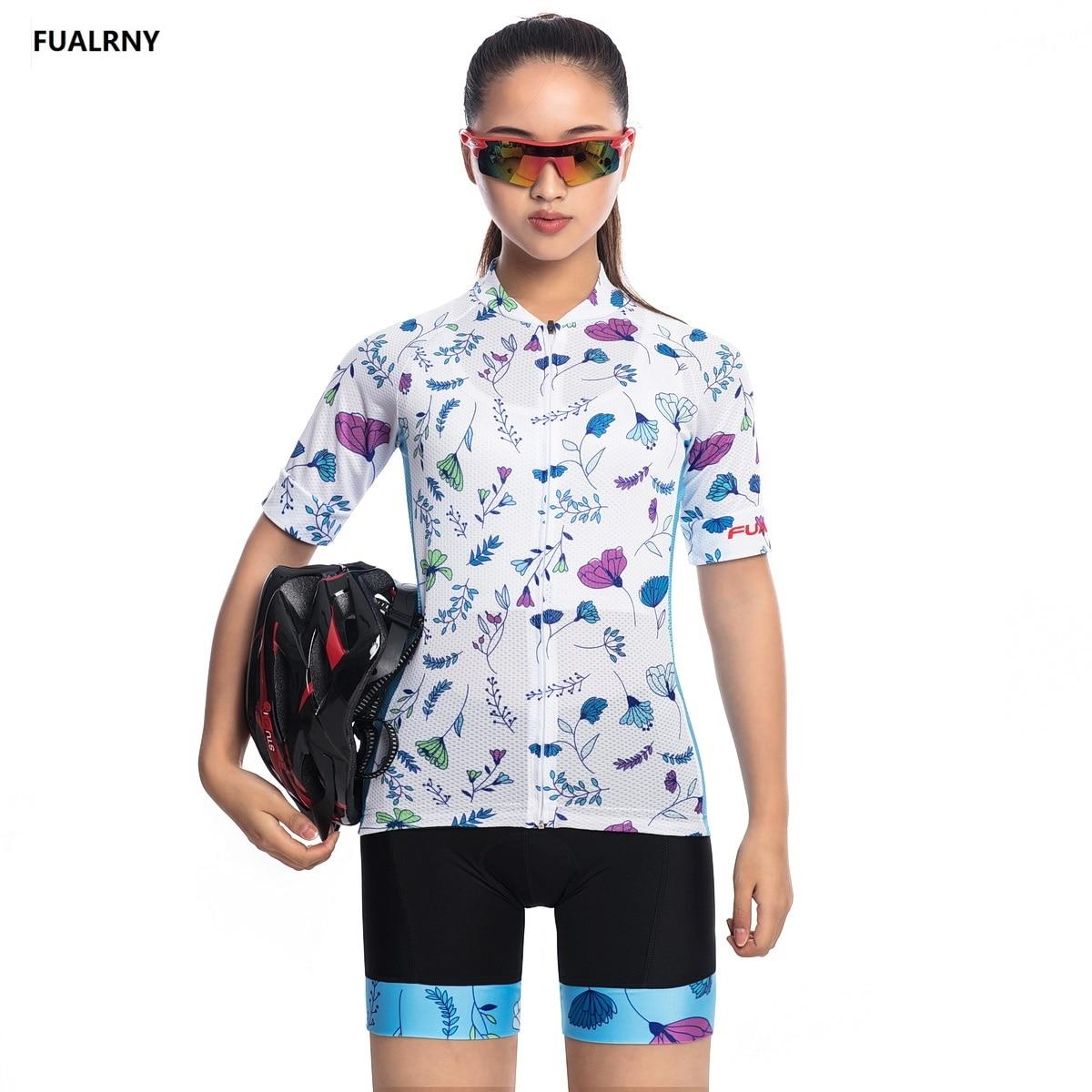 2018 FUALRNY NEW Pro Thin short Cycling jersey Sets Women Sportswear Mtb Bike Bicycle Padded Cycling Clothing Plant elements