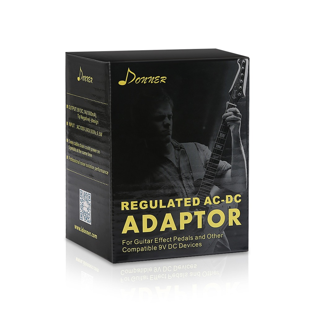 Donner DPA-1 Gitaarpedaal Voeding Adapter 9V DC Negatief 1A Tip 5-weg - Muziekinstrumenten - Foto 6