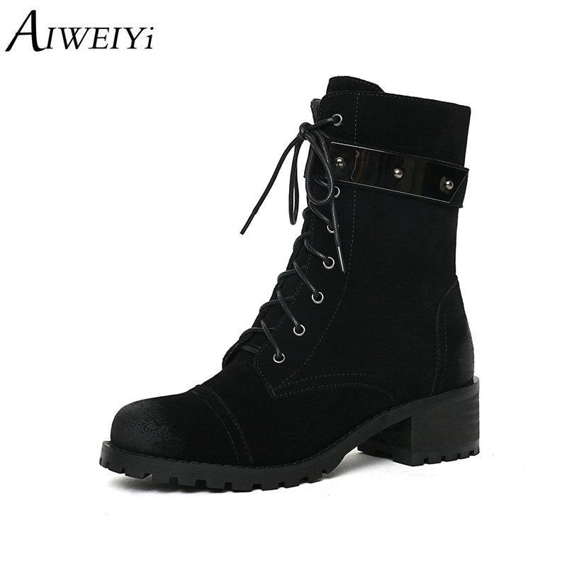AIWEIYi Thick Heel Genuine Leather Brand Ankle Boots For Women Autumn Winter Round Toe Lace Up Martin Boots Shoes WomanAIWEIYi Thick Heel Genuine Leather Brand Ankle Boots For Women Autumn Winter Round Toe Lace Up Martin Boots Shoes Woman